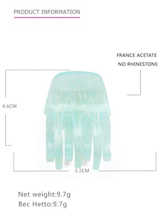 Sea blue Cellulose Acetate Minimalist Geometric Zinc Alloy Jaw Hair Claw