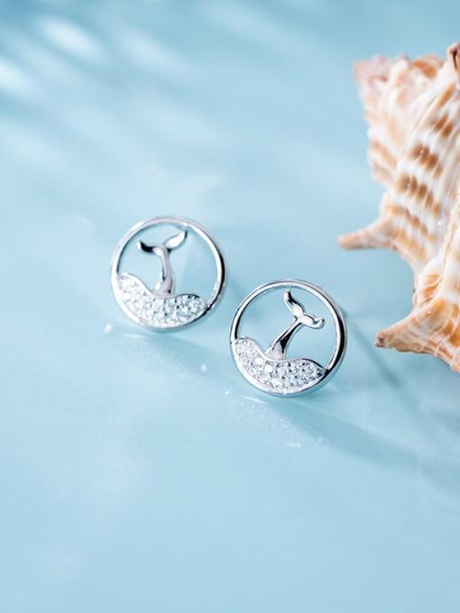 Rosh 925 Sterling Silver Rhinestone Hollow fishtail Minimalist Stud Earring 2