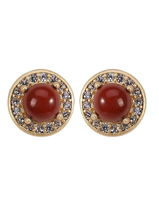 DEER 925 Sterling Silver Carnelian Round Vintage Stud Earring 3