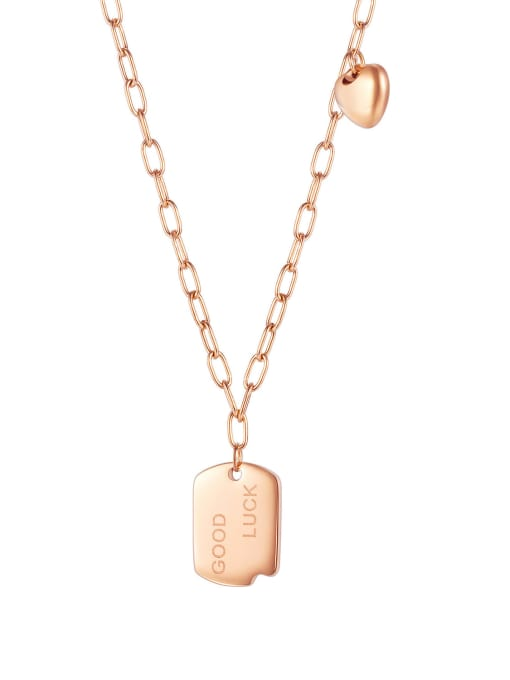 rose gold Titanium Steel Geometric Vintage Necklace