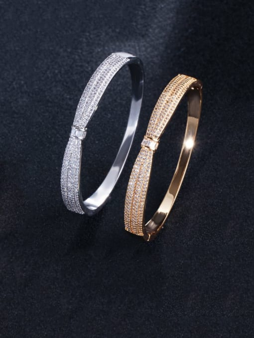 L.WIN Brass Cubic Zirconia Butterfly Classic Band Bangle