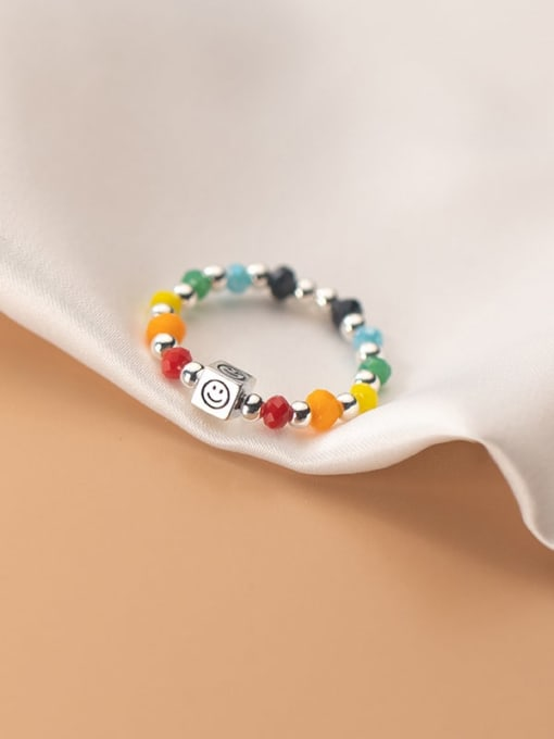 Rosh 925 Sterling Silver Bead Multi Color Smiley  Square Minimalist Band Ring