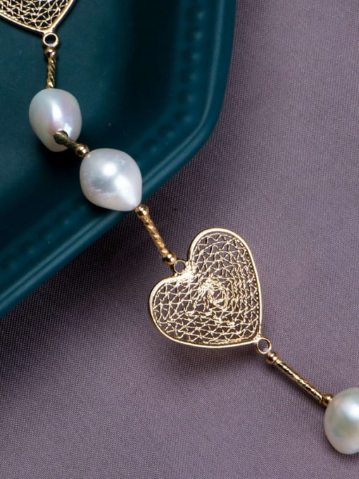 RAIN Brass Freshwater Pearl Hollow Heart Vintage Necklace 2