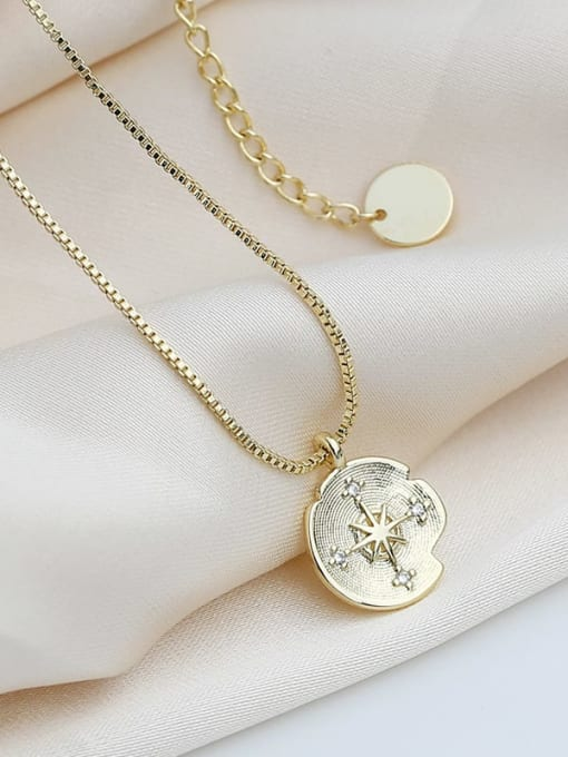 CHARME Brass Cubic Zirconia Round Vintage Meteor compass Pendant Necklace 1