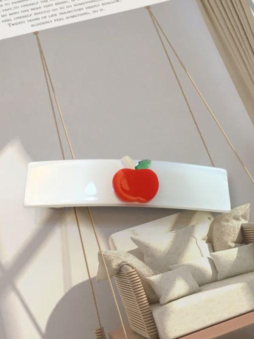 Pure white Alloy Cellulose Acetate Minimalist Cartoon apple pattern Spring clip Girl top clip