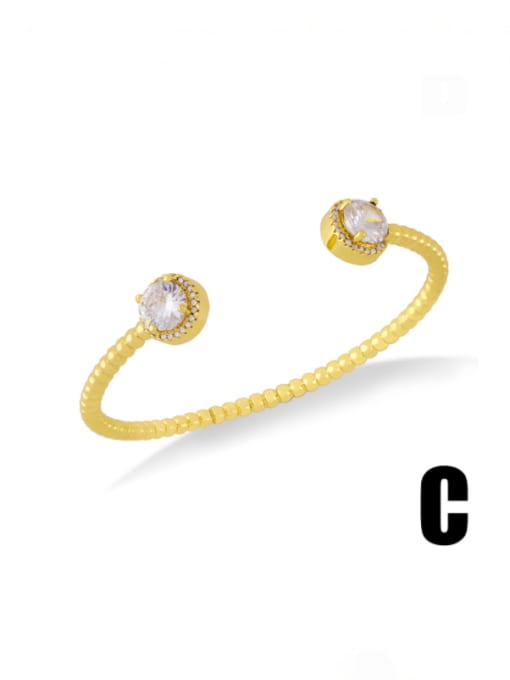 C (white) Brass Cubic Zirconia Snake Vintage Cuff Bangle