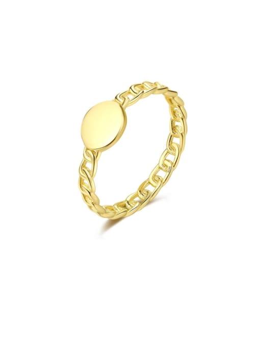 14K 11B03 925 Sterling Silver Geometric Minimalist Band Ring