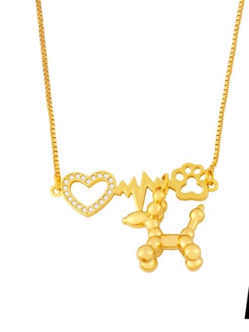 A Brass Cubic Zirconia Heart Cute Necklace