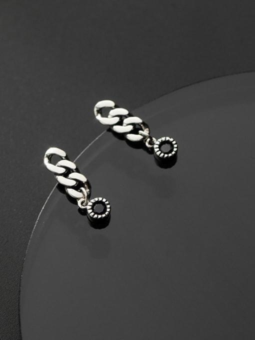 Rosh 925 Sterling Silver Cubic Zirconia Geometric Chain  Vintage Drop Earring 0