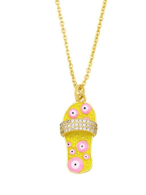 A (yellow) Brass Cubic Zirconia Enamel Irregular Vintage Necklace