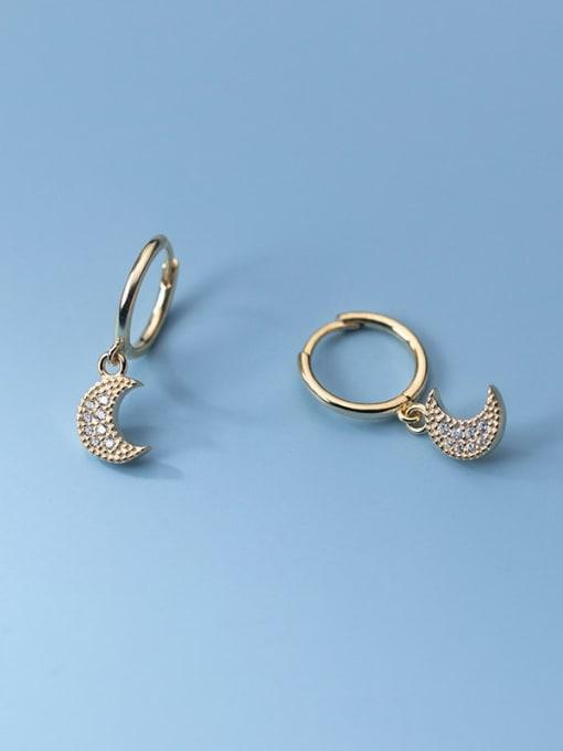 Rosh 925 Sterling Silver Cubic Zirconia Moon Vintage Huggie Earring 2