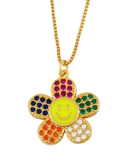 CC Brass Cubic Zirconia Smiley Flower  Minimalist Necklace 2