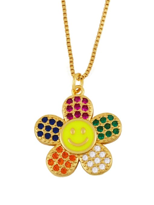 yellow Brass Cubic Zirconia Smiley Flower  Minimalist Necklace