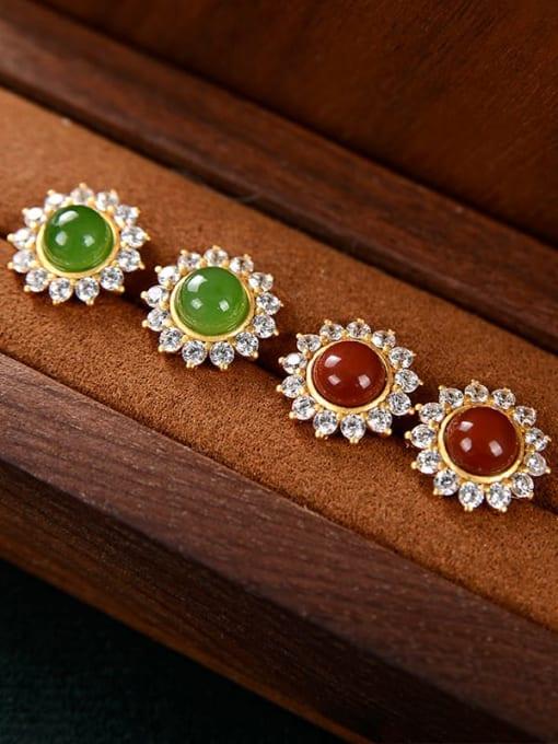 DEER 925 Sterling Silver Jade Flower Cute Stud Earring