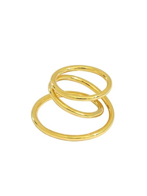 golden 925 Sterling Silver Irregular Vintage Stackable Ring