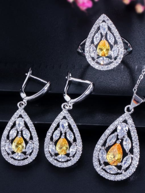 Yellow ring size 7 Drop Brass Cubic Zirconia Luxury Water  Earring and Necklace Set