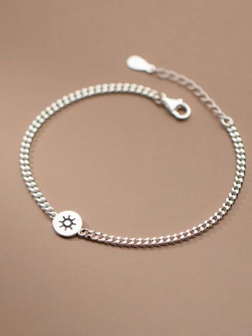 Rosh 925 Sterling Silver Star  Moon Vintage Link Bracelet 1