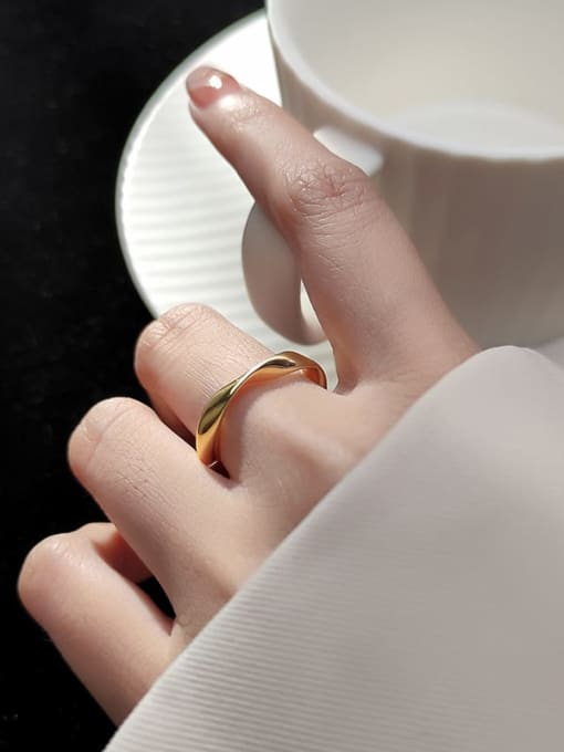 Rosh 925 Sterling Silver Geometric Minimalist Band Ring 2