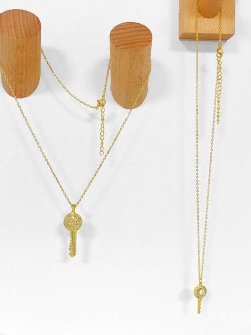CC Brass Cubic Zirconia Key Hip Hop Pendant Necklace 3