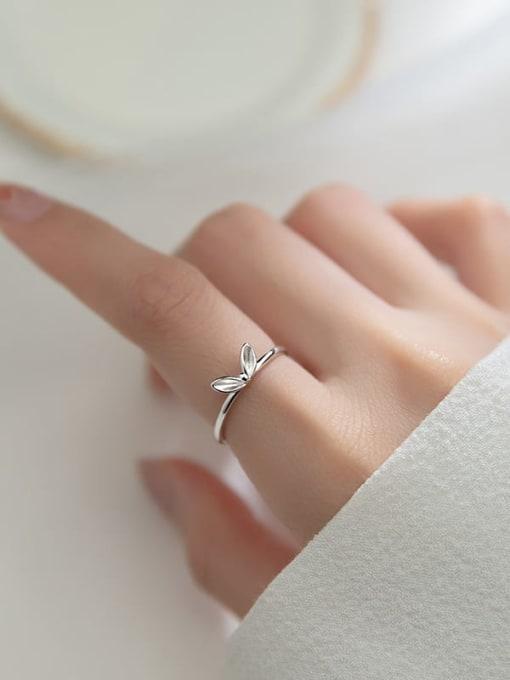 Rosh 925 Sterling Silver Leaf Cute Band Ring 1