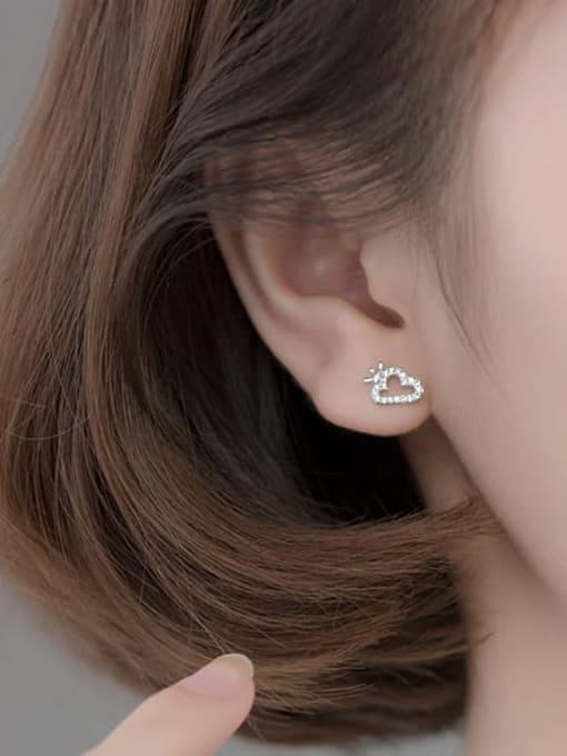 Rosh 925 Sterling Silver Cubic Zirconia  Asymmetry Moon Cute Stud Earring 1