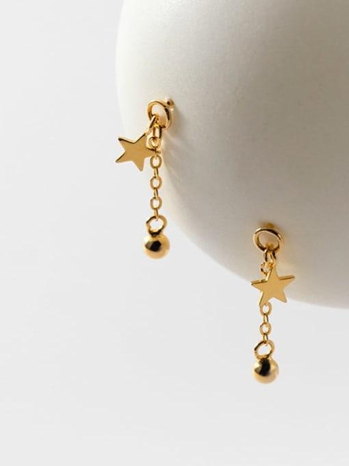 gold 925 Sterling Silver Enamel Tassel Minimalist Drop Earring
