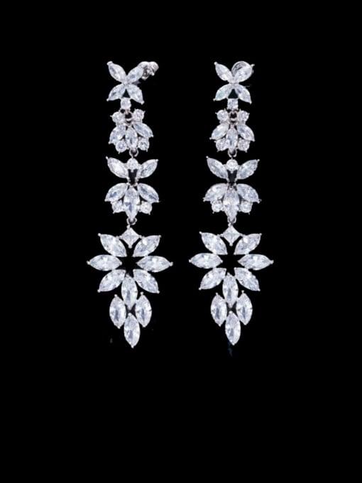 L.WIN Brass Cubic Zirconia Flower Statement Chandelier Earring 0