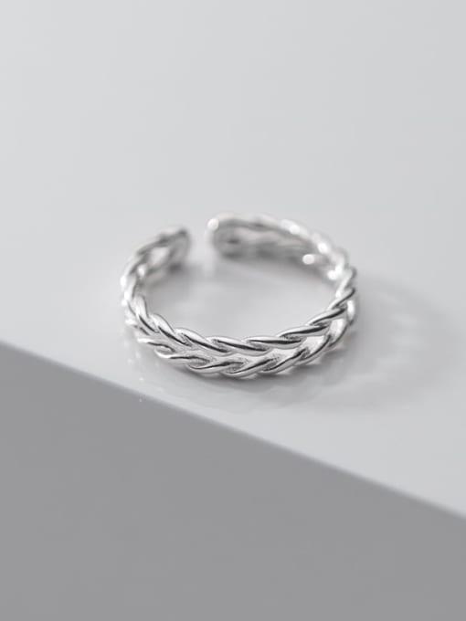 Rosh 925 Sterling Silver Leaf Minimalist Band Ring 2