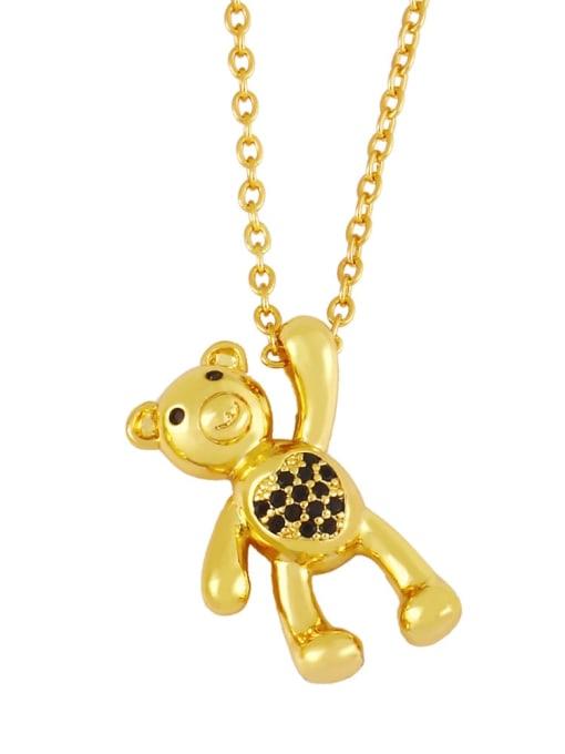 B Brass Cubic Zirconia  Vintage Bear Pendant Necklace