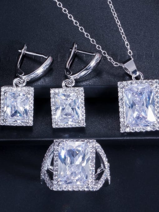 White ring size 7 Brass Cubic Zirconia Luxury Geometric  Earring Ring and Necklace Set