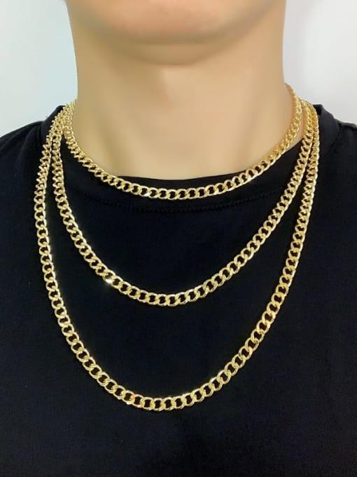 CC Brass Hollow Geometric Chain Minimalist Necklace