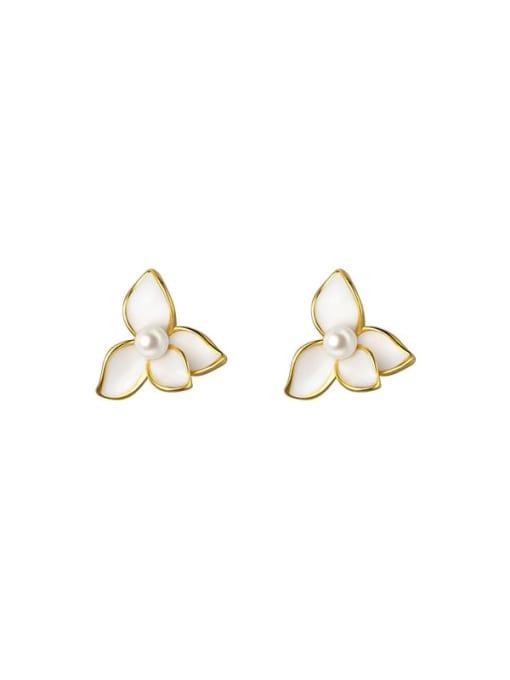 Rosh 925 Sterling Silver Shell Flower Minimalist Stud Earring