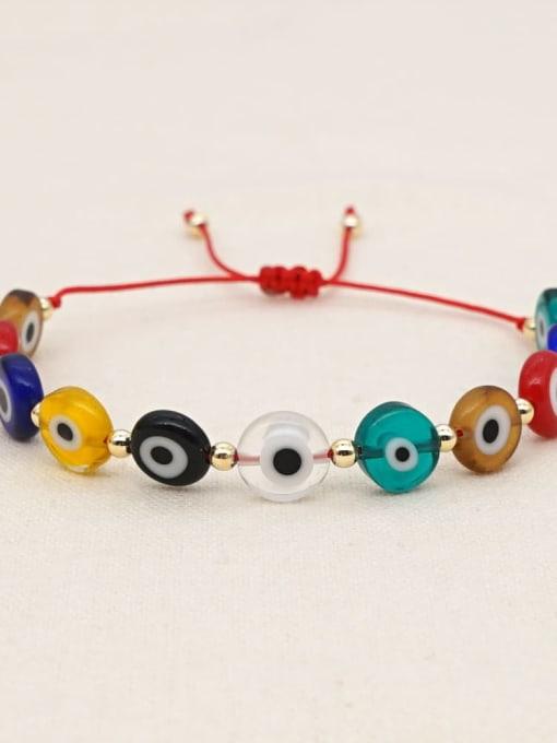 Roxi Multi Color Glass Stone  Evil Eye Bohemia Adjustable Bracelet 2