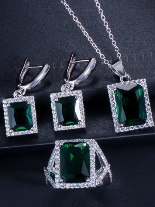 Green Ring Size 9 Brass Cubic Zirconia Luxury Geometric  Earring Ring and Necklace Set