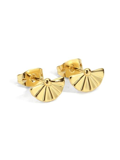 CHARME Brass Imitation Pearl Geometric Minimalist Stud Earring 0