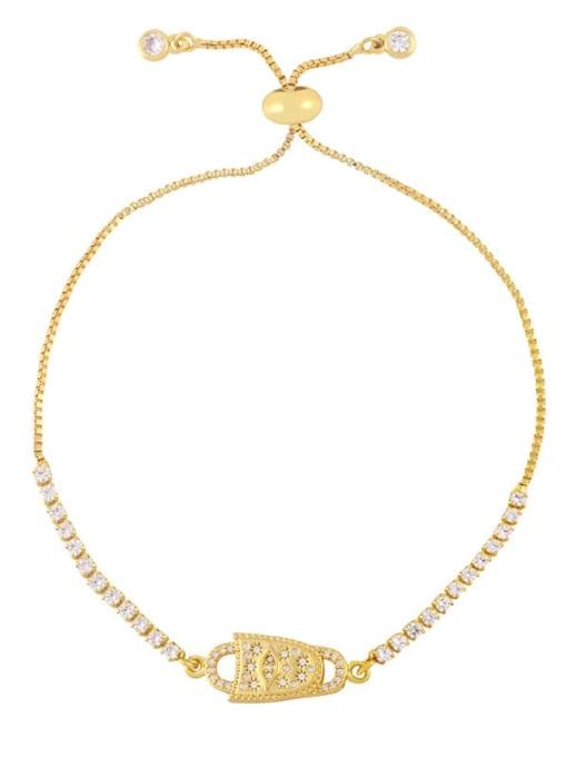 D Brass Cubic Zirconia Butterfly Hip Hop Adjustable Bracelet