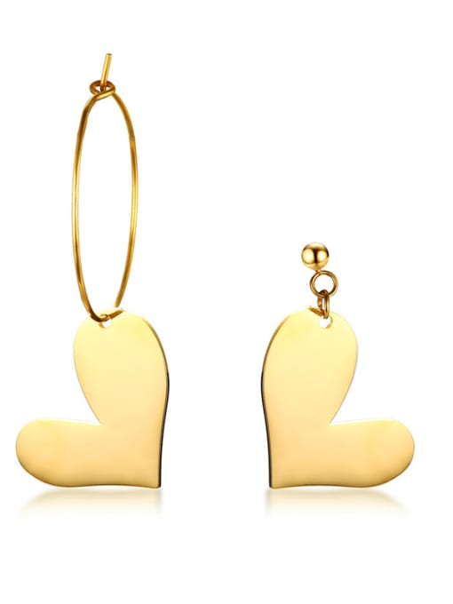 CONG Stainless steel Heart Minimalist Hook Earring