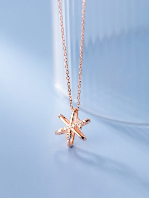 Rosh 925 Sterling Silver Cubic Zirconia Star Minimalist Necklace 3