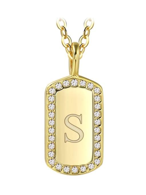 Gold letter S Brass Rhinestone Letter Minimalist Necklace