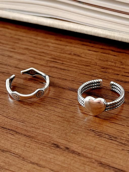 Boomer Cat 925 Sterling Silver Heart Vintage Band Ring 1