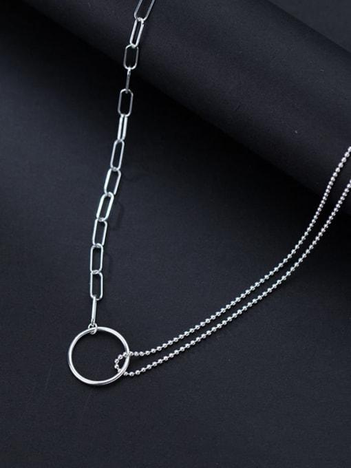 Rosh 925 Sterling Silver Round Minimalist Asymmetry Multi Strand Necklace 1