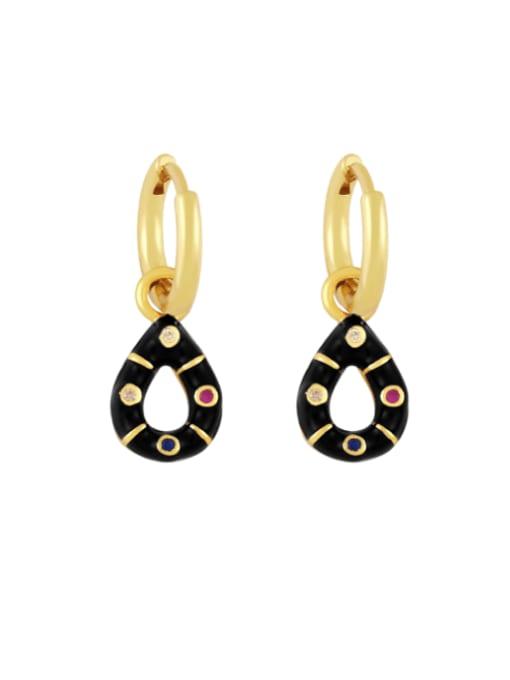 black Brass Rhinestone Enamel Water Drop Vintage Huggie Earring