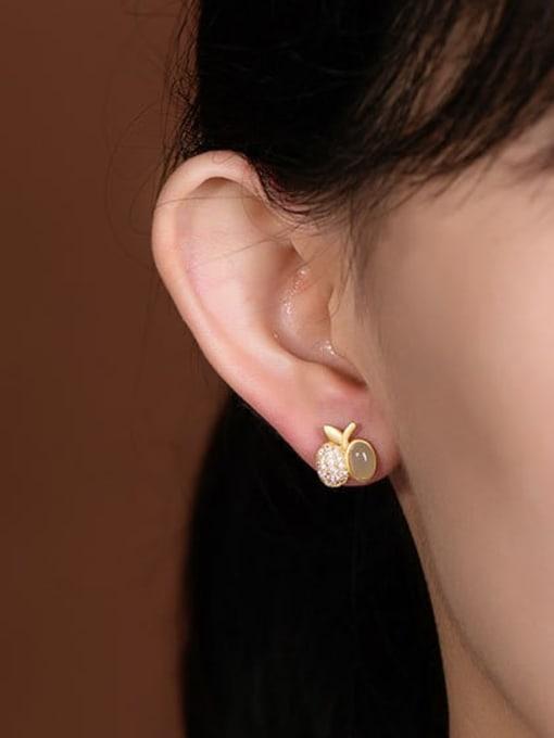 DEER 925 Sterling Silver Jade Friut  Apple Vintage Stud Earring 1