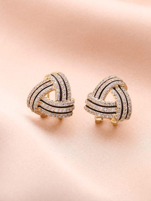 Luxu Brass Cubic Zirconia Geometric Luxury Stud Earring 3