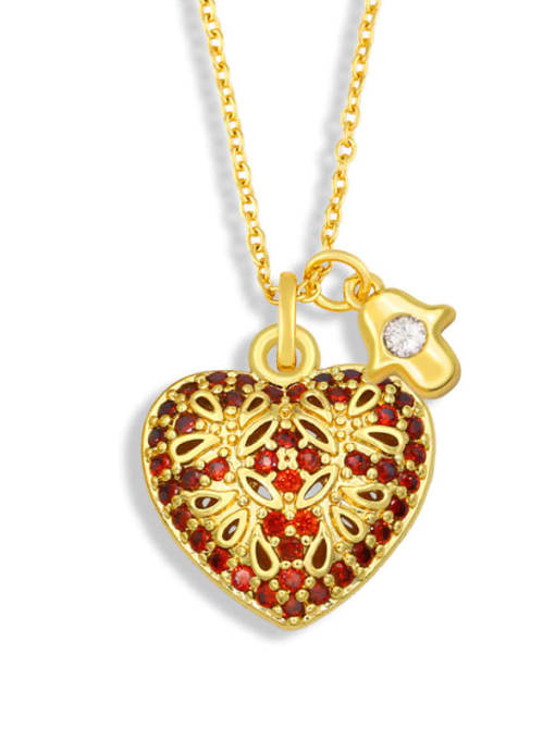 CC Brass Cubic Zirconia Heart Vintage Necklace 3