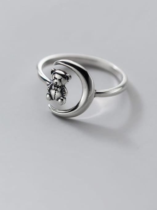Rosh 925 Sterling Silver Bear Vintage Band Ring 1