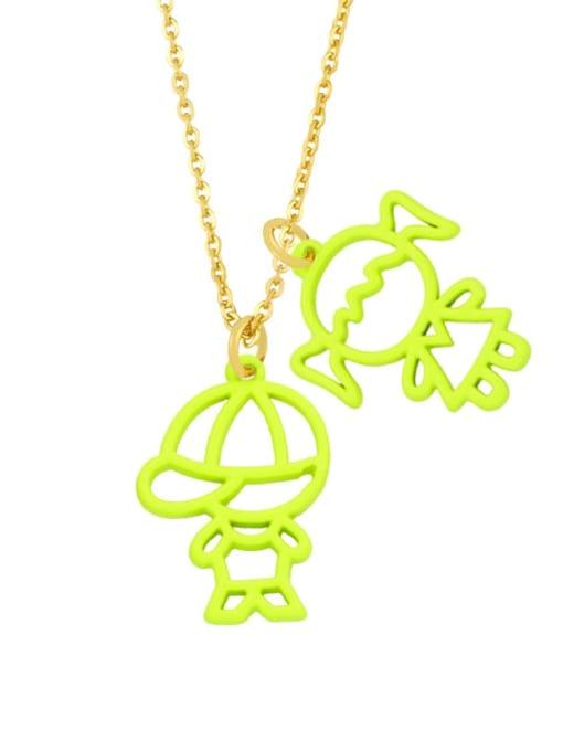 yellow Brass Enamel Cute Angel  Pendant Necklace