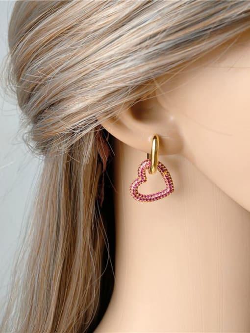 DUDU Brass Cubic Zirconia Heart Luxury Huggie Earring 2
