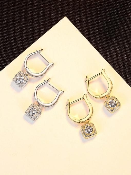 CCUI 925 Sterling Silver Cubic Zirconia Geometric Dainty Drop Earring 2