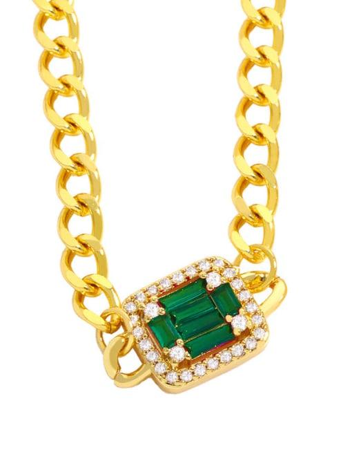 green Brass Cubic Zirconia Geometric Vintage Necklace
